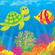 Underwater scene of a friendly sea turtle chatting with a marine fish — Stock Photo