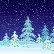 Dark snowing night with flocked evergreen trees. — Stock Photo #31116729