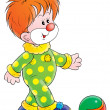 Red haired clown in a green and yellow polka dot costume — Stock Photo
