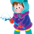 Постер, плакат: Little boy in winter clothing