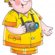 Friendly chubby male tourist with a camera around his neck — Lizenzfreies Foto