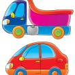Blue and pink dump truck and a red car — Stock Photo
