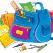 School supplies around a backpack — Stock Photo