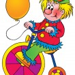 Clown with a balloon, riding a colorful bike — Stock Photo