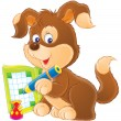 Brown puppy dog writing in an activity book with a blue pencil. — Zdjęcie stockowe