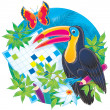 Perched toucan by a word puzzle — Stock Photo