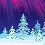 Winter landscape with Polar Lights shining — Stock Photo #31116955