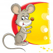 Cute mouse standing by a big circular wedge of cheese — Lizenzfreies Foto