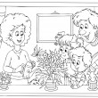 Stock Photo: Happy family watering plants in window