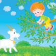 Boy in a tree over a goat. — Stock Photo