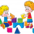Two brothers playing with toy blocks — Stock Photo #31117007