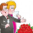 Happy mature couple shedding tears over red roses, on a white background. — Stock Photo
