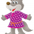 Постер, плакат: Wolf in a purple polka dot dress