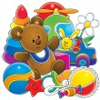 Foto Stock: Teddy bear with baby toys