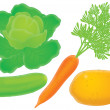 Cucumber lettuce carrot and potato — Stock Photo