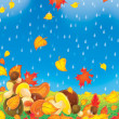 Stock Photo: Falling autumn leaves and mushrooms on a rainy day.