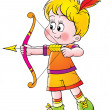Little blond boy shooting arrows — Foto Stock