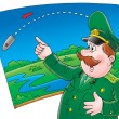 Cartoon officer pointing on map — Stock Photo #31117245