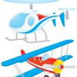 Helicopter and biplane — Stock Photo