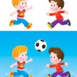 Boys playing soccer outside.  — Stock Photo