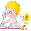 Blond angel signing a wedding book by a candle — Stock Photo