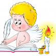 Blond angel signing a wedding book by a candle — Stock Photo #31117415