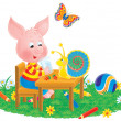 Butterfly watching a snail chat with a pig at a table — ストック写真