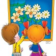 Little boy and girl admiring painting of flowers — Stock Photo #31117521