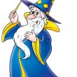Friendly male wizard in blue and yellow hat and cape — Stock Photo #31117565