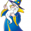 Stock Photo: Friendly male wizard in blue and yellow hat and cape