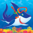 Snorkeling shark swimming over a colorful coral reef. — Stock Photo #31117599