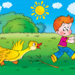 Yellow goose turning on a boy after being poked at with a branch. — Stock Photo