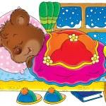 Bear cub hibernating in bed and sleeping — Stock Photo #31117627