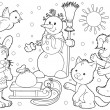 Winter snowman and animals by a sled. — Stock Photo