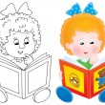 Cartoon girl reading a story book — Stock Photo #31117731