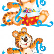 Birthday tiger unwrapping a present with blue ribbons — Stock Photo