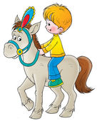 Little blond boy riding a white horse — Stock Photo