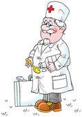 Senior doctor pouring medicine into a spoon — Stock Photo