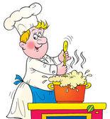 Chef revuelve una olla de sopa que hace espuma — Foto de Stock