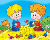 Boy and girl making sand castles with buckets in a sand box. — Stock Photo