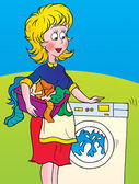 Woman watching laundry spin — Stock Photo