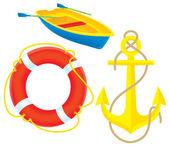 Anchor lifebuoy and boat — Stock Photo