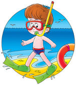 Boy in snorkel gea — Stock Photo