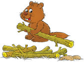 Happy brown beaver carrying one log from a pile — Stock Photo