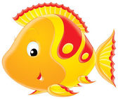 Yellow cartoon fish — Stock Photo