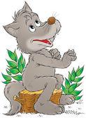 Happy gray wolf sitting on a tree stump — Stock Photo