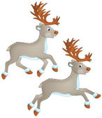 Two caribou or reindeer running. — Stock Photo