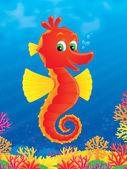 Happy red seahorse — Stock Photo