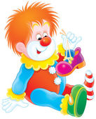Clown holding up one of his shoes and sitting on the floor — Stock Photo