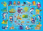 Blue pirate board game. — Zdjęcie stockowe